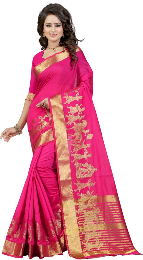 The Fashion Outlets Self Design, Plain Fashion Cotton, Silk Saree