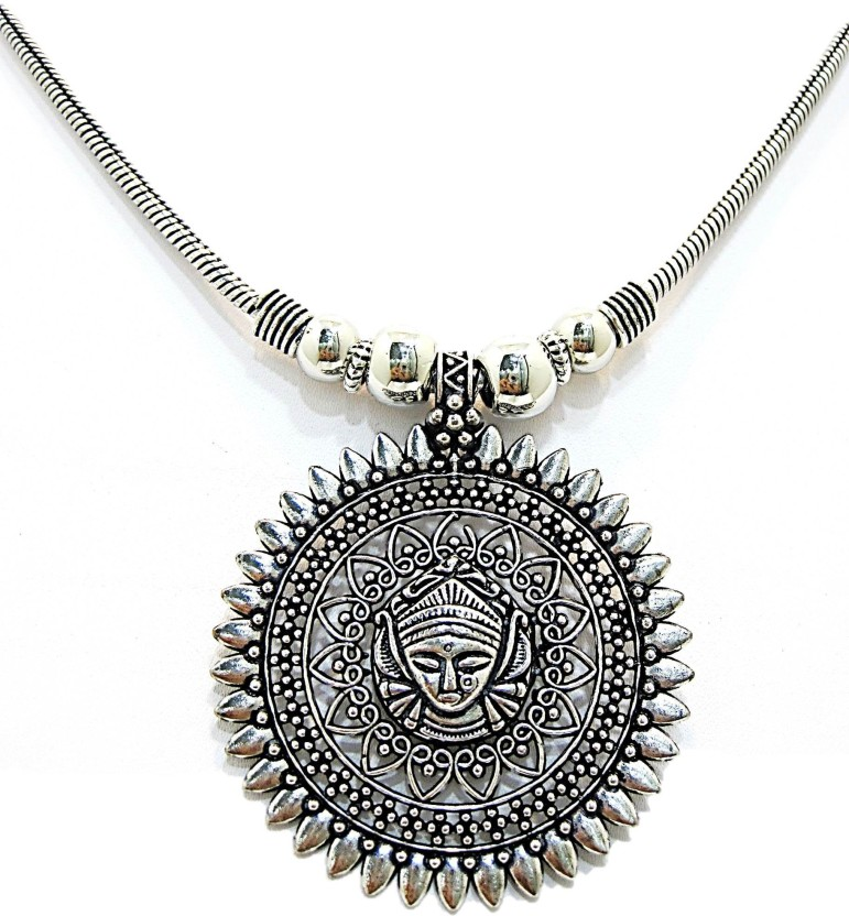 Muccasacra Goddess Durga Most Popular and Festival Special Alloy, Sterling Silver Necklace