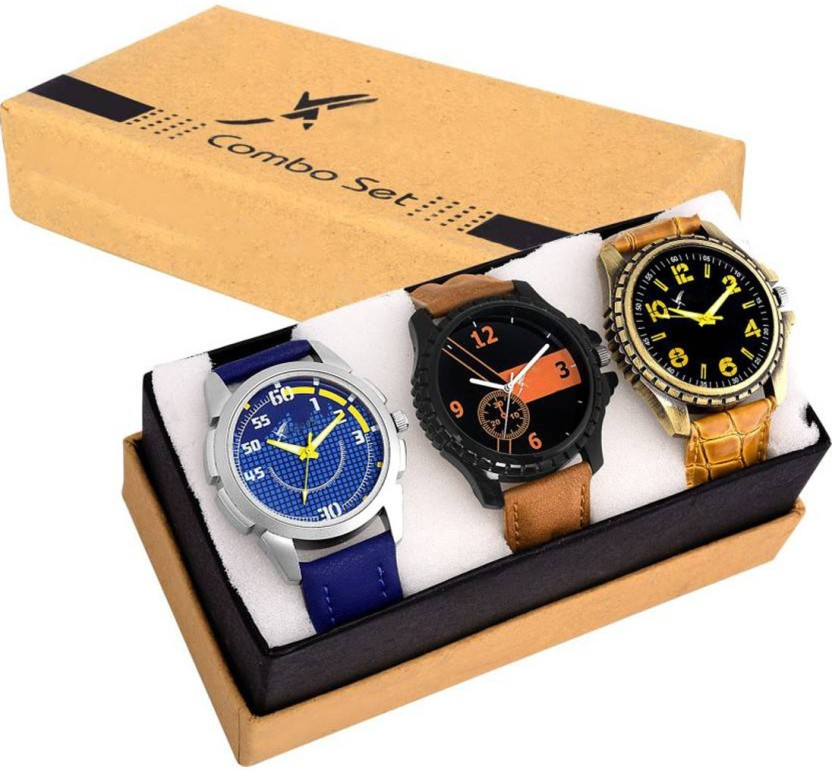 Fancy Three Multi~Colour Menz Combo Watch  - For Boys & Girls