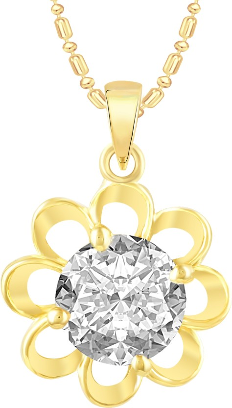 VK Jewels Flower Solitaire 18K Yellow Gold Cubic Zirconia Alloy Pendant
