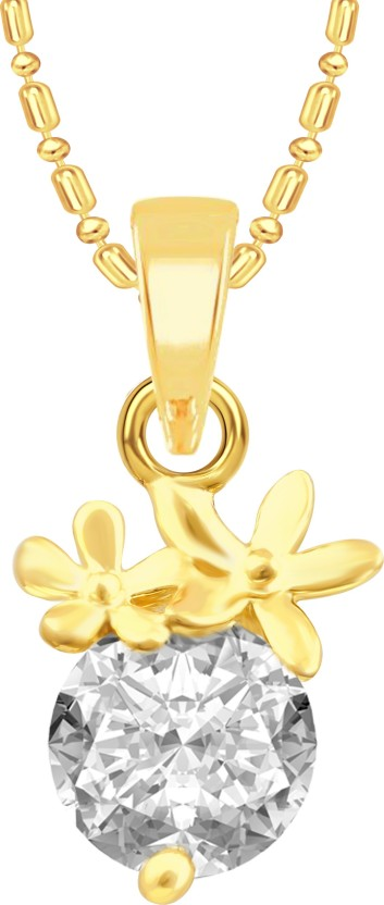 VK Jewels Two Flower Solitaire 18K Yellow Gold Cubic Zirconia Alloy Pendant