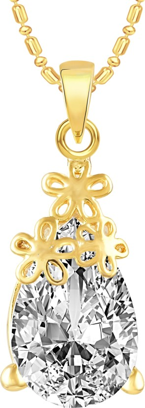VK Jewels Three Flower Solitaire 18K Yellow Gold Cubic Zirconia Alloy Pendant