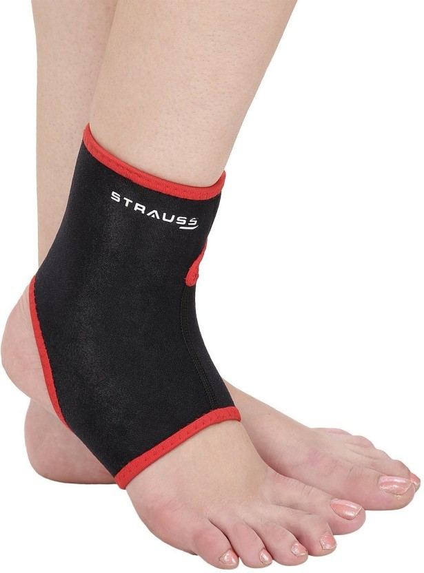 Strauss Large Ankle Support (L, Black, Red)