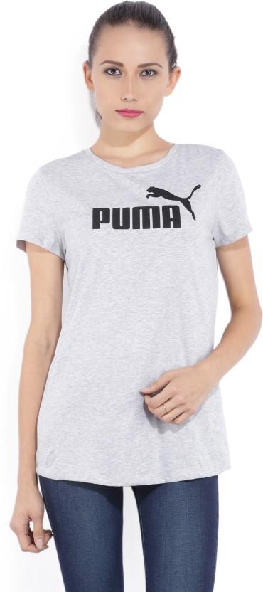 Puma Printed Women Round Neck Grey T-Shirt