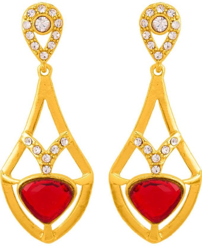 Voylla Elegant Gem Studded Dainty Drop Earrings Alloy Drop Earring