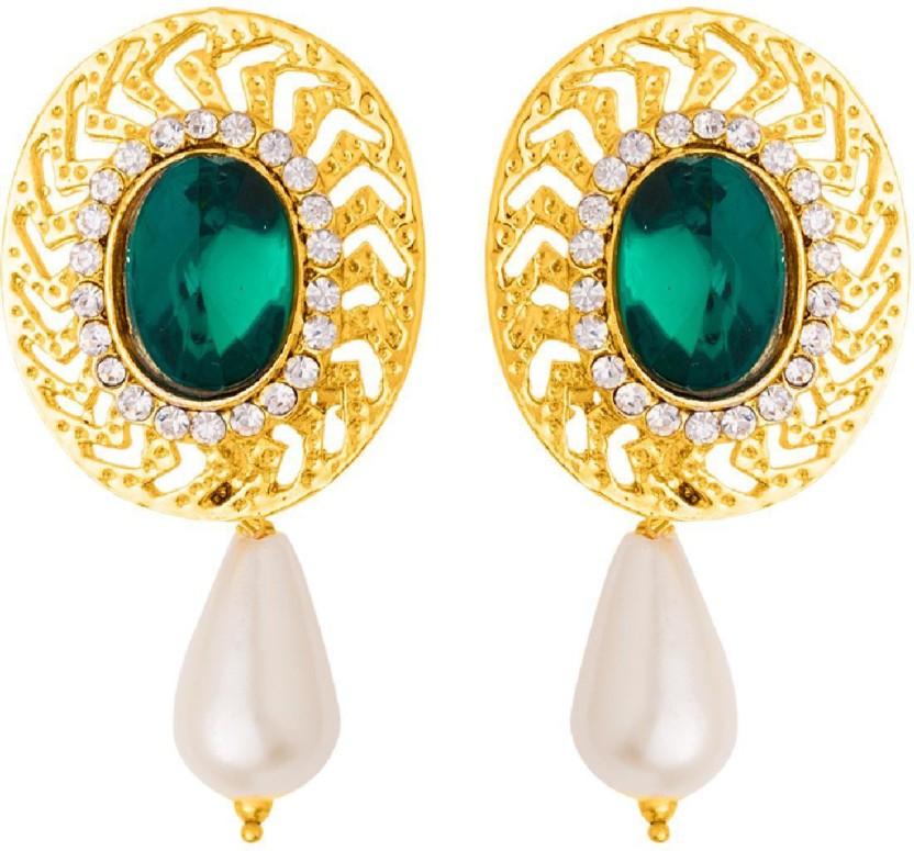 Voylla Ethnic-Style Earrings with Pearl Drop Alloy Drop Earring
