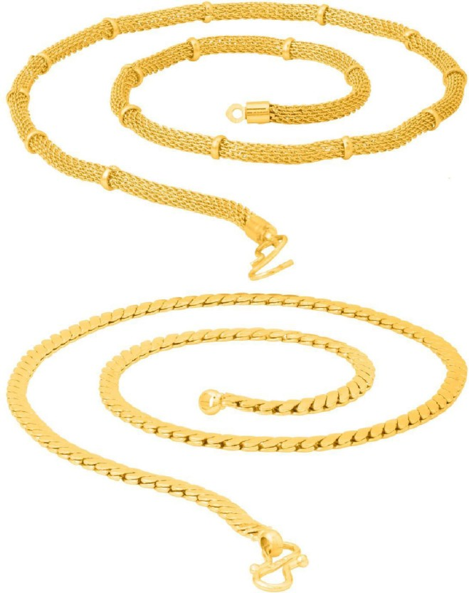 Voylla Yellow Gold Combo Pair of Chain For Men From Dare by Voylla Yellow Gold Plated Brass Chain Set