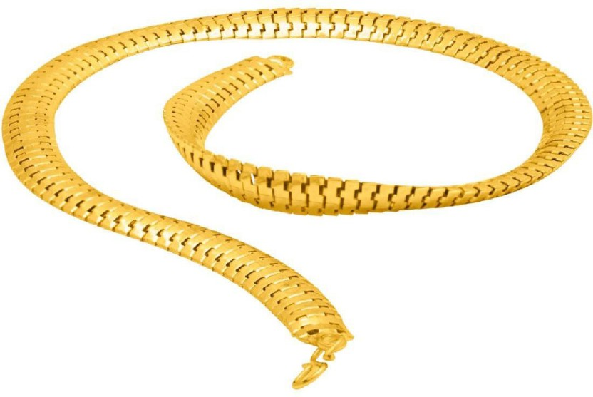 Voylla Herringbone Designer Chain From Dare By Voylla For Men Yellow Gold Plated Brass Chain