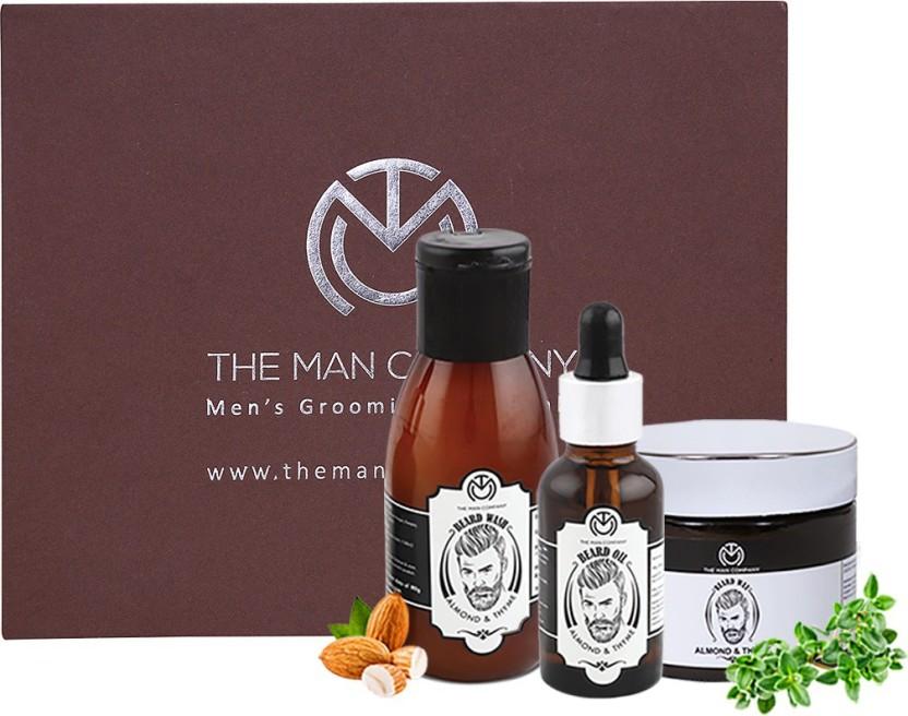 The Man Company Almond & Thyme Complete Premium Beard Growth Kit - Beard Wash (100ml), Beard Oil (30 ml), Beard Wax (50gm)