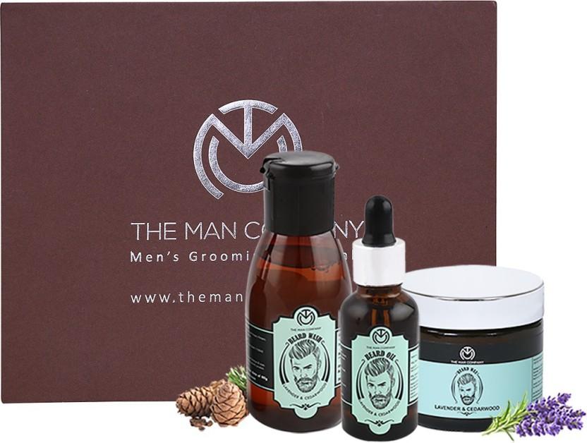 The Man Company Lavender & Cedarwood Premium Beard Care Kit - Beard Wash (100ml), Beard Oil (30 ml), Beard Wax (50gm)