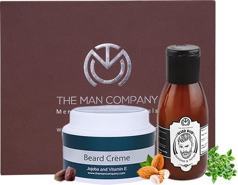 The Man Company Premium Beard Care and Nourishment Combo - Almond & Thyme Beard Wash (100 ml), Jojoba and Vitamin E Beard Cream (100 gm)