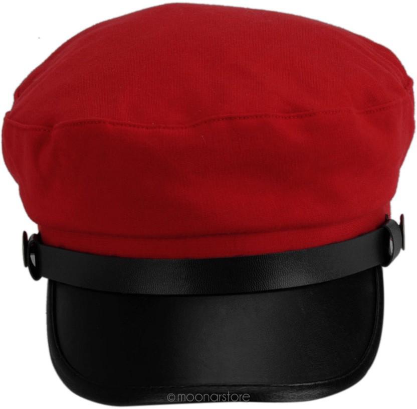 Friendskart Solid Self Design Leather Baseball Cap In Red Colour For Mens And Womens Cap Cap
