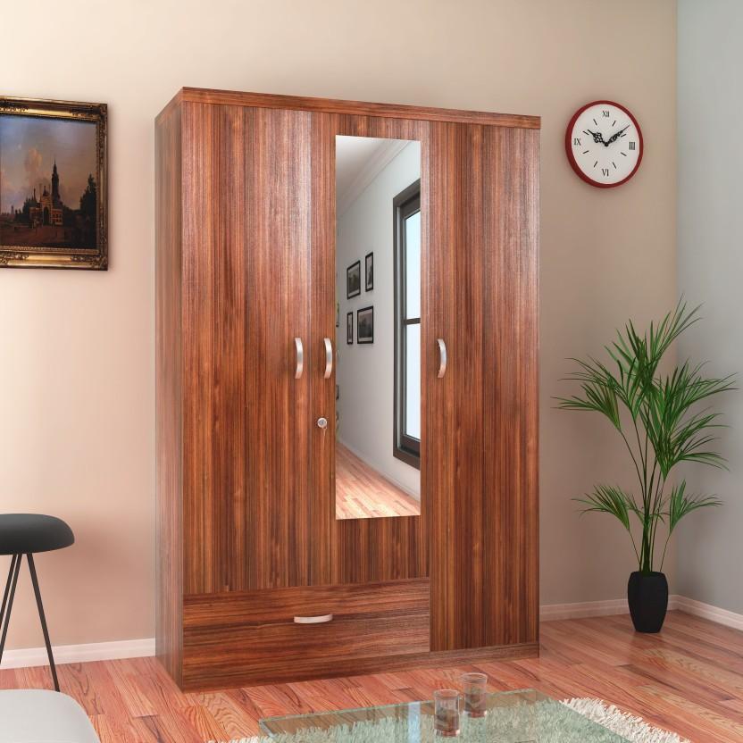 HomeTown Ultima 3 Door With Mirror Rwlnt Engineered Wood Almirah