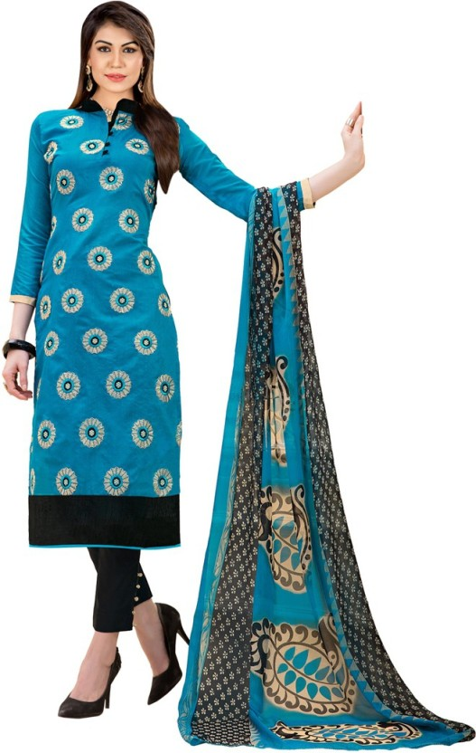 Maroosh Chanderi Cotton Embroidered Semi-stitched Salwar Suit Dupatta Material