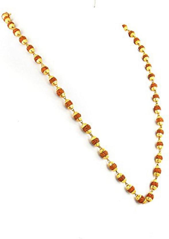 Fully Golden 18kt Rudraksha mala for men/women 18K Yellow Gold Plated Alloy Chain