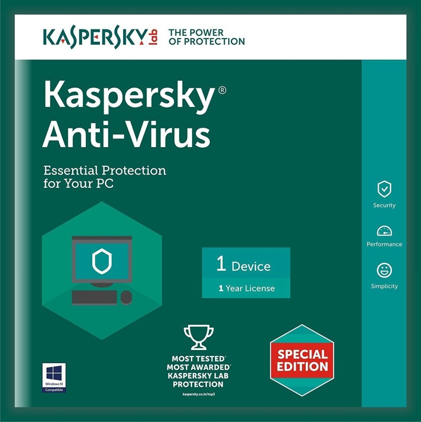 Kaspersky Antivirus Software 2016 New Slim Pack 1Pc 1Year(1Cd,365 Days Valid Serial Key)