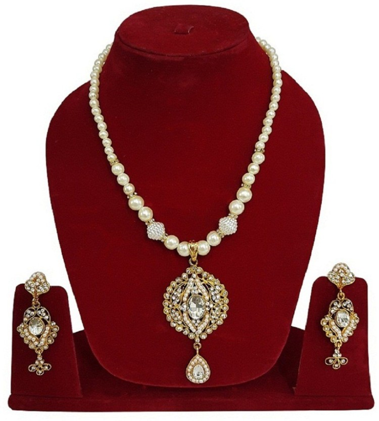 Fully Kavra Chauth Indian Bollywood Classical Bridal Jewellery Pearls Necklace With Earring Diamond, Mother of Pearl 18K Yellow Gold Plated Mother of Pearl Necklace Set