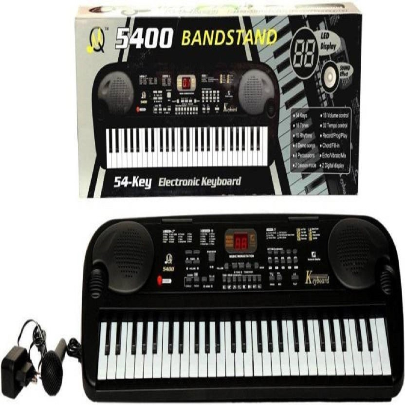 Shy Products Latest 54 Key Electronic Piano With Lcd Display And Microphone (Black)