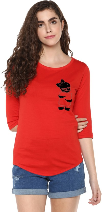 Young Trendz Abstract Women Round Neck Red T-Shirt