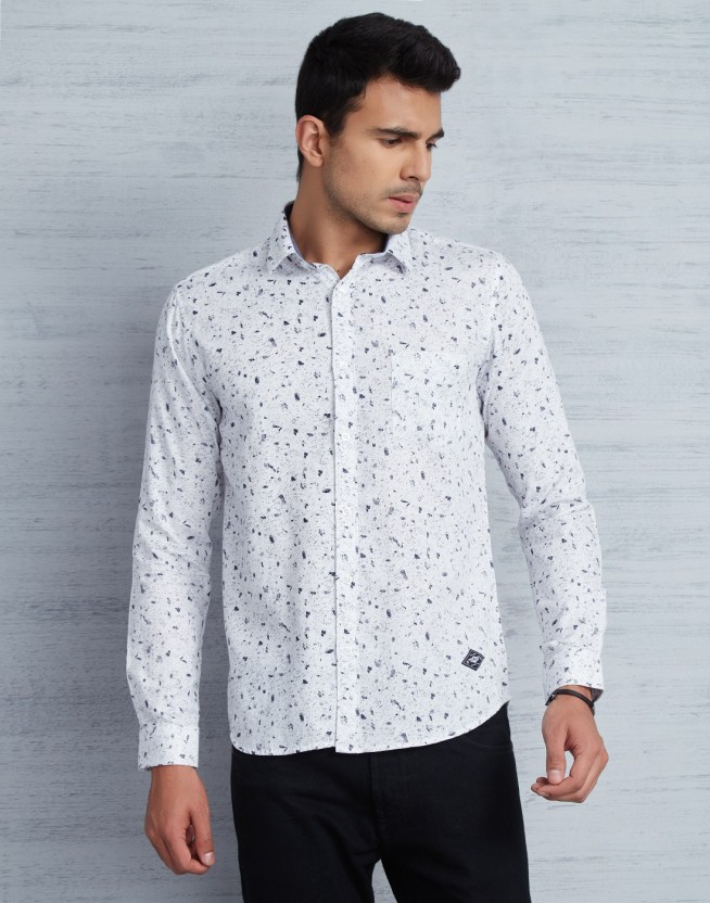 Metronaut Men Printed Casual White Shirt
