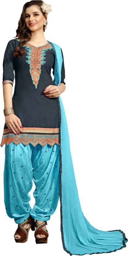 Vaidehi Fashion Cotton Embroidered Semi-stitched Salwar Suit Dupatta Material, Semi-stitched Salwar Suit Material, Salwar Suit Material, Dress/Top Material, Salwar Suit Dupatta Material