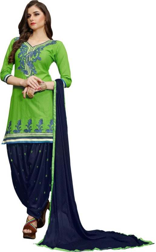 Vaidehi Fashion Cotton Embroidered Semi-stitched Salwar Suit Dupatta Material, Semi-stitched Salwar Suit Material, Salwar Suit Material, Dress/Top Material, Salwar Suit Dupatta Material