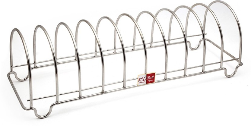 KCL Semi Round 10 Plates & Thali Stand Stainless Steel Kitchen Rack
