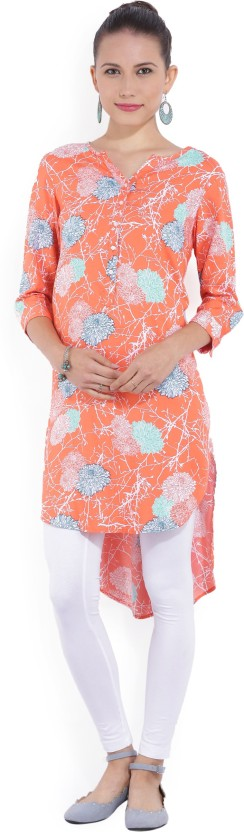 Melange by Lifestyle Solid, Floral Print Women Straight Kurta