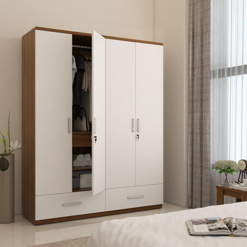 Spacewood Classy Engineered Wood 4 Door Wardrobe