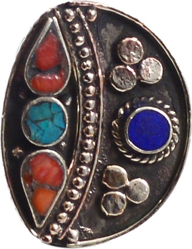 Silvesto India Turquoise, Lapis Lazuli & Coral Gemstone Ring PG-118111 Stone, Metal Turquoise, Lapis Lazuli, Coral Silver Plated Ring