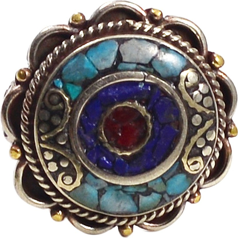 Silvesto India Turquoise, Lapis Lazuli & Coral Gemstone Ring Stone, Metal Turquoise, Lapis Lazuli, Coral Silver Plated Ring