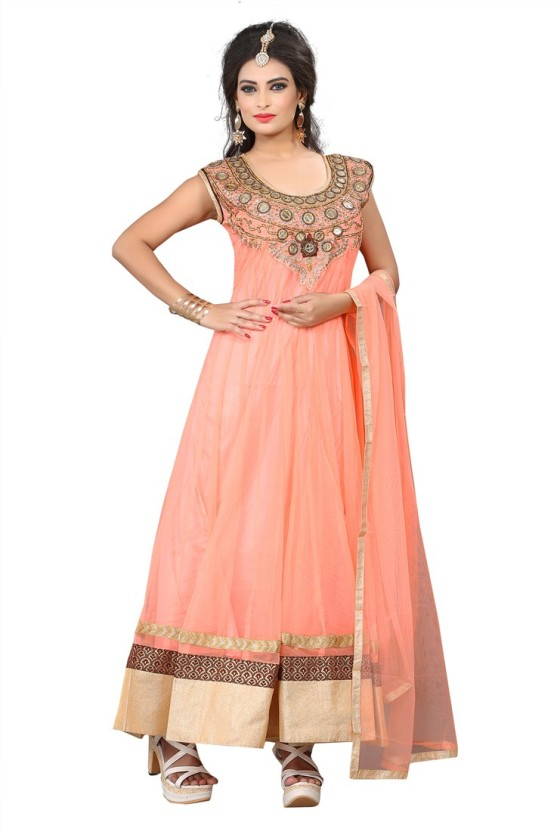 Saara Net Self Design, Solid, Embroidered, Embellished Semi-stitched Gown, Salwar and Dupatta Material