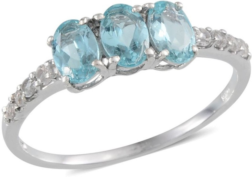 Vaibhav Women 925 Sterling Silver Paraibe Apatite White Topaz Ring 1.52 Cts Oval Three Stone Fashion Classic Size 10 Silver Topaz Silver Plated Ring