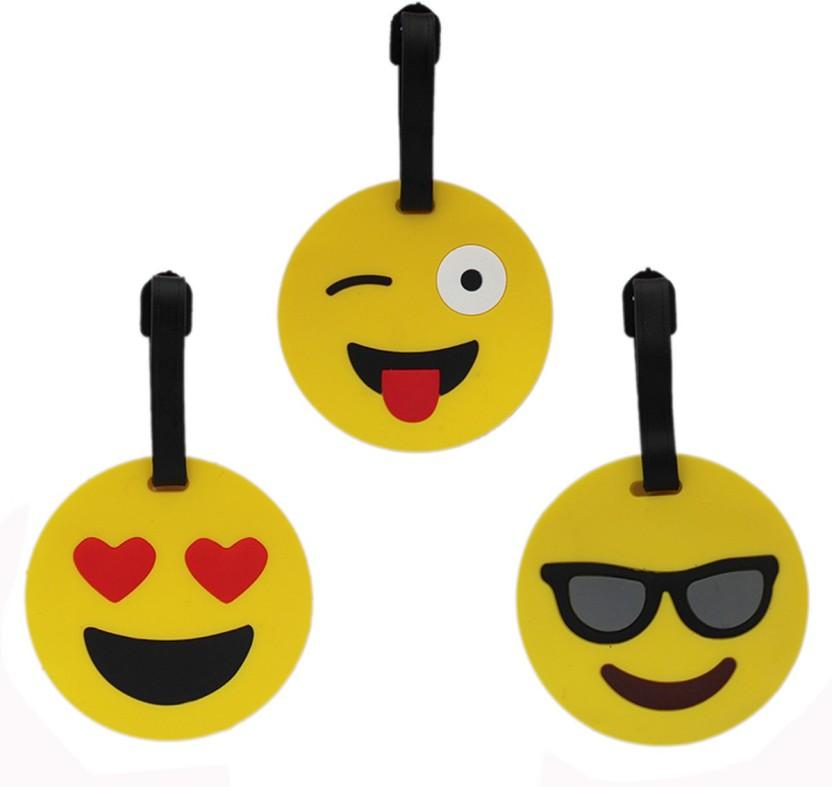 Tootpado Luggage Tag Smiley Emoji (Pack of 3) - Yellow (LNTq043) Luggage Tag