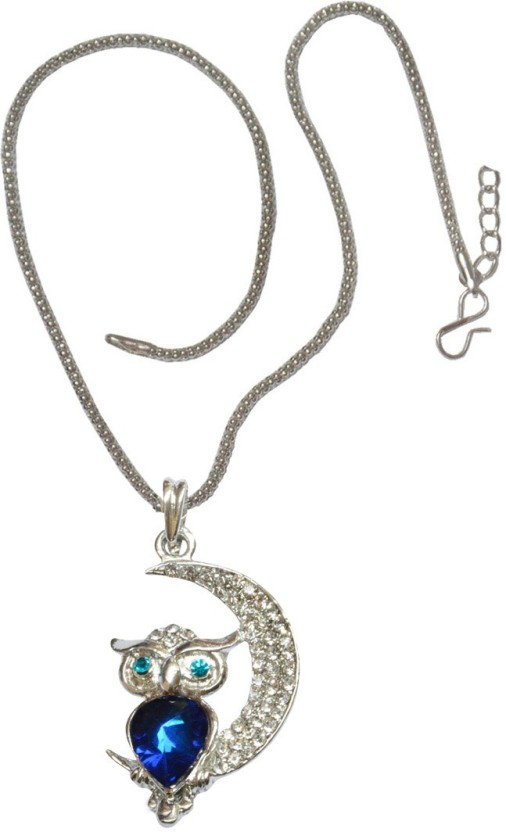 Men Style Crystal Owl Rhinestone Moon Shaped Animal Fashion Jewelry Gift Crystal, Alloy Pendant Set