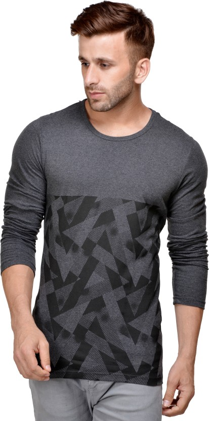 Unisopent Designs Printed Men Round Neck Grey T-Shirt
