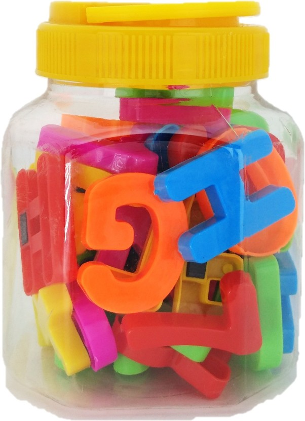 Oytra Magnetic 50 Pieces Alphabets and Numbers Jar