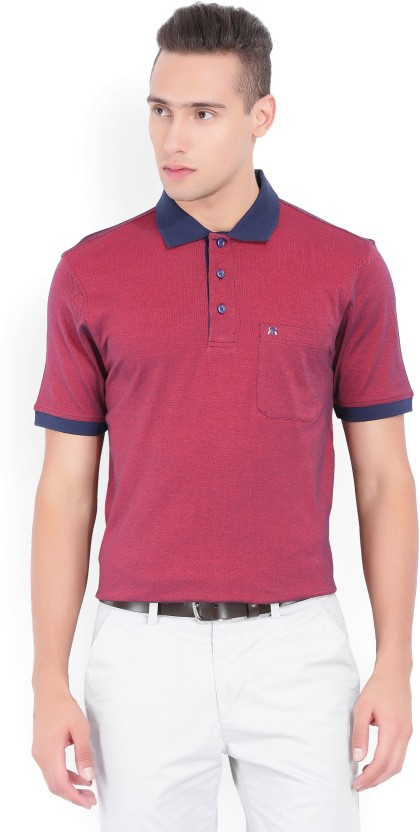 Raymond Checkered Men Polo Neck Red, Blue T-Shirt