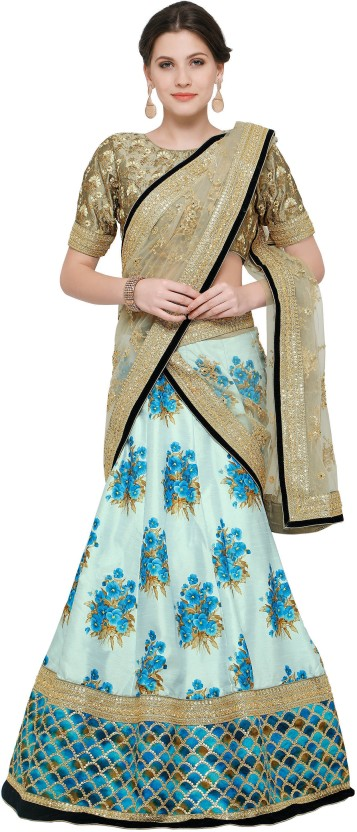 Zeel Clothing Silk Floral Print, Embroidered, Embellished Semi-stitched Lehenga Choli Material, Lehenga Choli Material