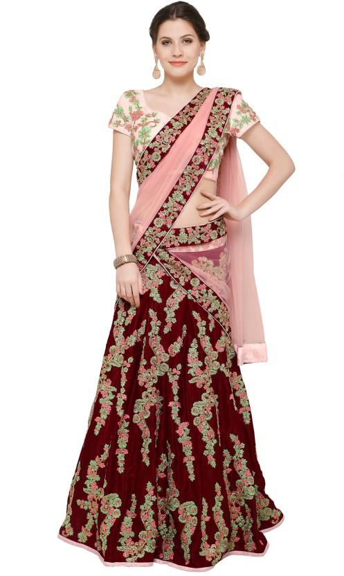 Zeel Clothing Velvet Embroidered Semi-stitched Lehenga Choli Material, Lehenga Choli Material
