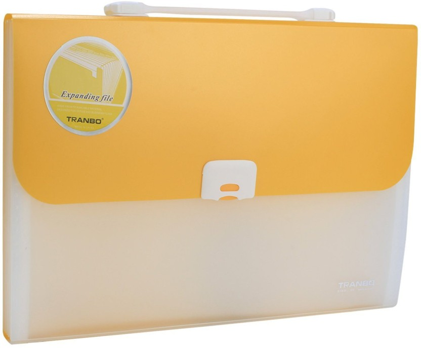 TRANBO Polypropylene File Folder with 13 Pockets, Handle, Index Tab, FC Size, Yellow