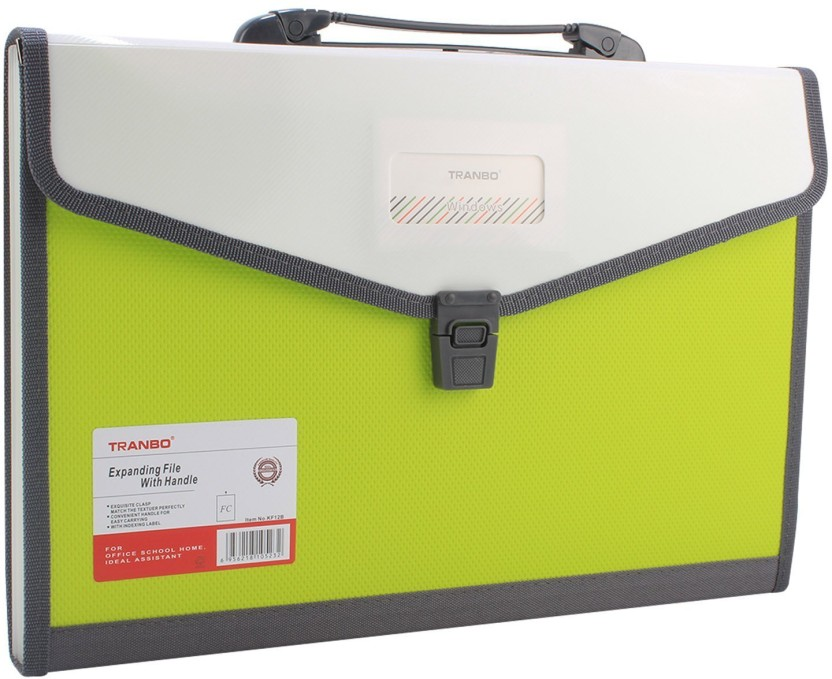 TRANBO Plastic File Folder with 13 Pockets, Handle, Index Tab, FC Size, Green