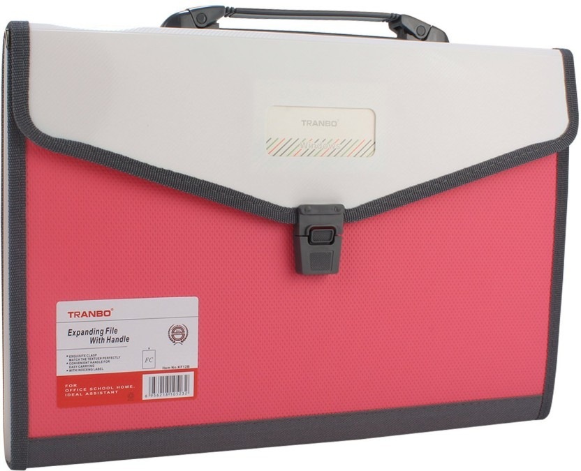 TRANBO Plastic File Folder with 13 Pockets, Handle, Index Tab, FC Size, Pink