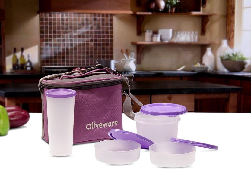 Oliveware LB54Purple 4 Containers Lunch Box