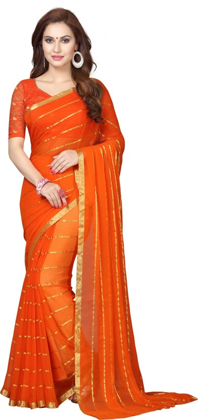 Ishin Printed Bollywood Synthetic Georgette Saree