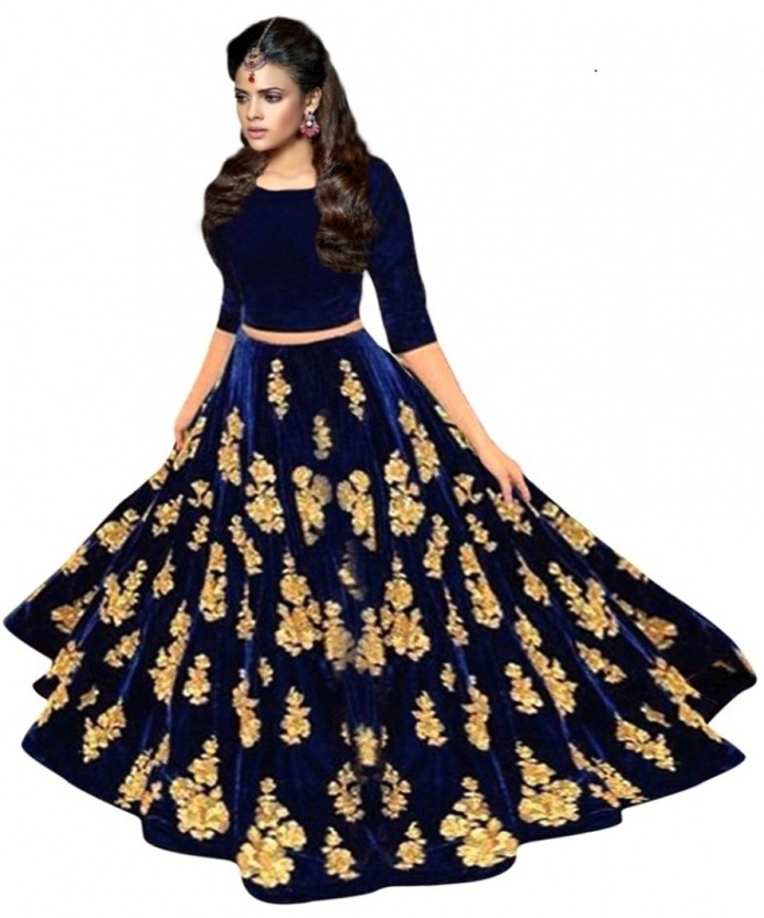 Fashionuma Velvet Embroidered Semi-stitched Lehenga Choli Material