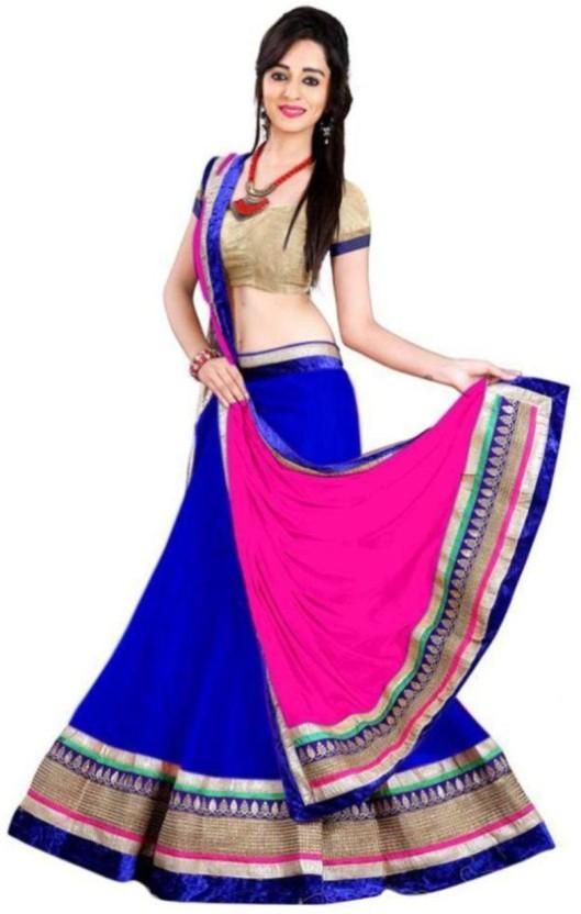Anu Clothing Net Embroidered Lehenga Choli Material