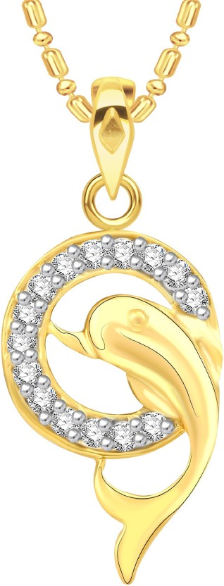 VK Jewels Dual Dolphin 18K Yellow Gold Cubic Zirconia Alloy Pendant