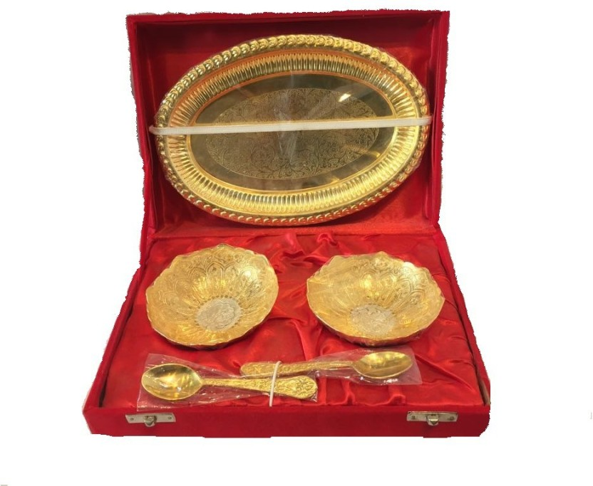 kreeshashiemporium Gold & Silver Plated Brass Bowl,Spoon & Tray Set of 5 Items Showpiece  -  6.5 cm