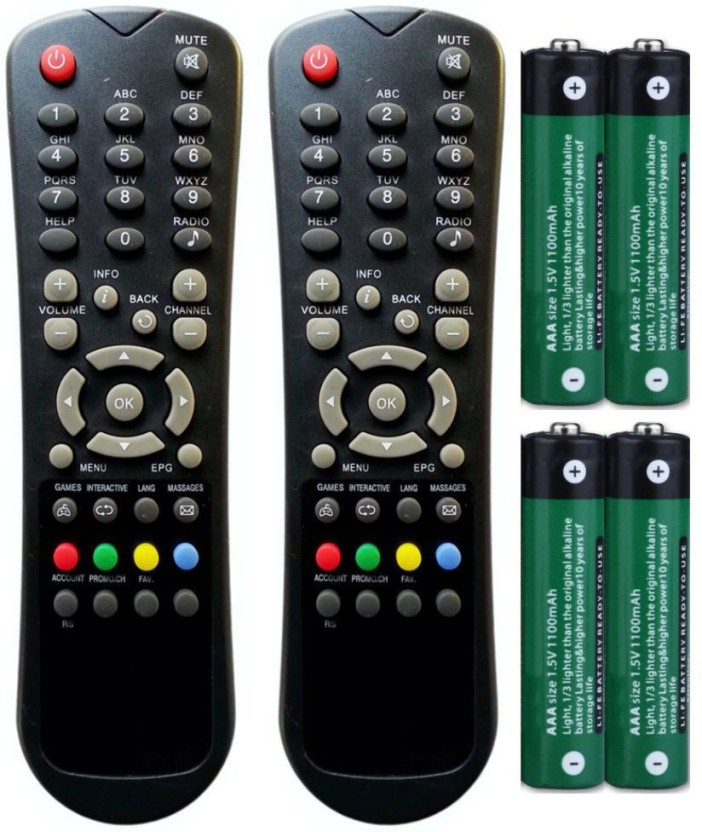 FineArts Combo of Hathway DTH Set Top Box Remote Controller (2 Pcs) with 4 Pcs Battery of 1.5 V Remote Controller